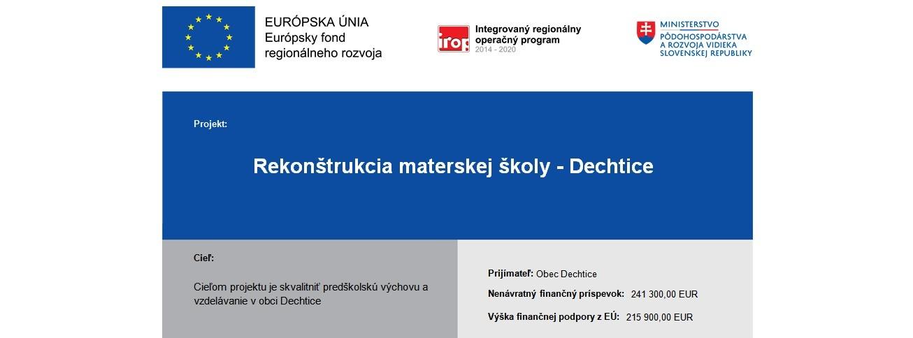 Photo of Projekt REKONŠTRUKCIA MATERSKEJ ŠKOLY – DECHTICE